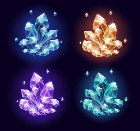 Magic crystals resources set on dark background. Vector illustration Illustration