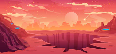 Space background alien fantastic landscape with rocks and a large crater, empty surface of the red planet Mars, cloudy sky and falling comet, computer game background, vector cartoon illustration Illustration