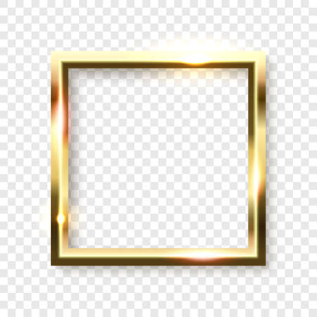 Abstract shiny golden square frame with white empty space for text, on transparent background, vector illustration