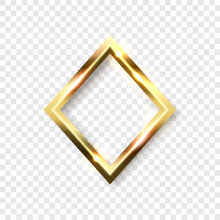 Abstract shiny golden rhombus frame with white empty space for text, on transparent background, vector illustration