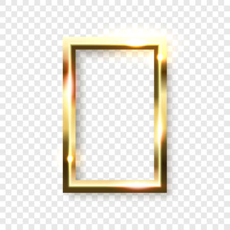 Abstract shiny golden rectangle frame with white empty space for text, on transparent background, vector illustration Illustration