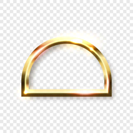 Abstract shiny golden semicircle frame with white empty space for text, on transparent background, vector illustration Illustration