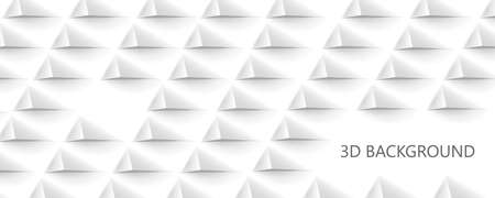 3D Futuristic white paper corners mosaic white background with copy space. Realistic geometric mesh rectangle texture. Abstract white vector wallpaper with hexagon grid.