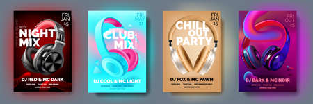 Set of Club posters with headphones, dance party, fluid design flyer, invitation, banner template.