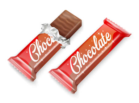 Chocolate bar or waffle in chocolate in opened red wrapped and foil