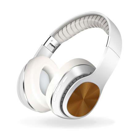 White and brown headphones isolated on white background, realistic vector illustration.