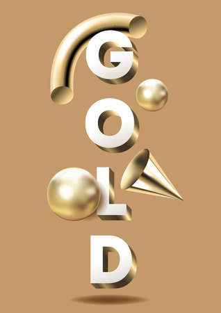3d render of realistic composition of geometric primitives and lettering. Flying shapes in motion isolated on a solid background. Spheres, tubes, cones of metallic gold, vector illustration. Иллюстрация