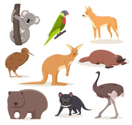 Set of funny cartoon Australian animals - emu, ostrich, koala on a branch, tasmanian devil, dingo dog, platypus, kiwi bird and wombat