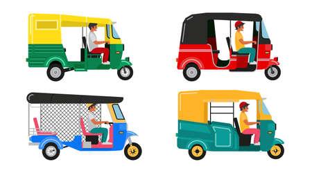 Set Indian motor rickshaw car. Asian tuk tuk. Vector illustration Vetores