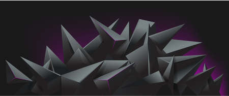 3d render abstract black crystal background, faceted texture, panorama, wide panoramic polygonal wallpaper, vector illustration
