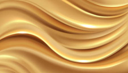 Abstract golden wave background, yellow expensive luxury silk gold background for vip cards, vector illustration.
