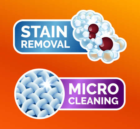 A set of stickers for washing clothes, stickers - micro-cleaning, stain removal, best washing quality, crystal white. Clean linen, fibers, isolated icons, vector illustration Illustration