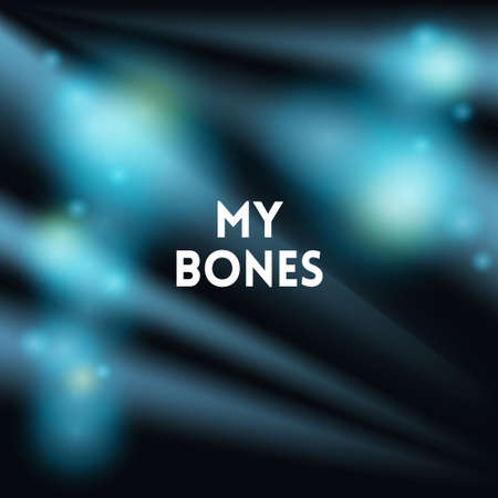 dark blue blurred background wiith text, vector illustration.