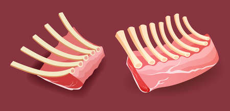 Raw meat - Veal rack Ribs on red background vector illustration Illustration