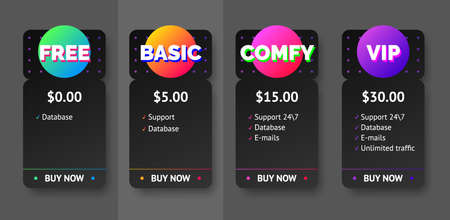 Vector black pricing plan banners infographic template mock up for web. Marketing presentation slide. Business labels concept infographics. 4 options, parts, steps, processes.