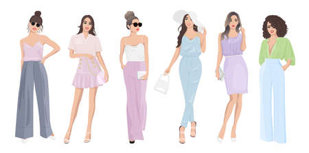 Set of women dressed in stylish trendy pastel color summer spring clothes 2021 - fashion street style