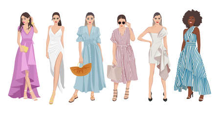 Set of women dressed in stylish trendy pastel color summer spring prom dress clothes 2021 - fashion street style Ilustración de vector
