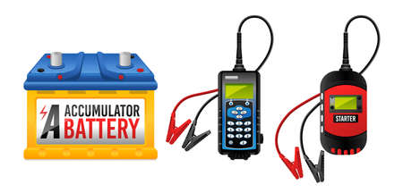 Car battery, electricity accumulator charger, battery checker and starter vector illustration isolated on white background.