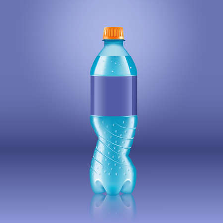 Realistic soda lemonade bottle mock up with blue label isolated on blue background reflected off the floor, vector illustration. Suitable for large format ads, billboards and posters 矢量图像