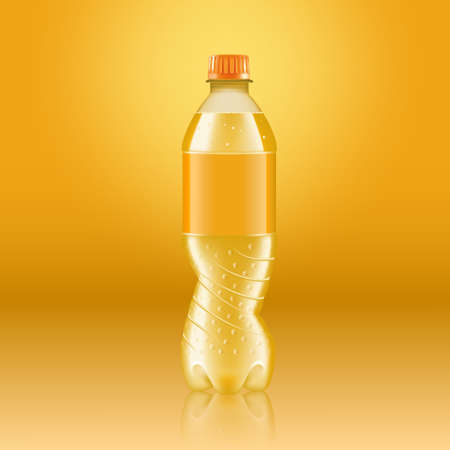 Realistic soda lemonade bottle mock up with yellow label isolated on yellow background reflected off the floor, vector illustration. Suitable for large format ads, billboards and posters