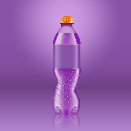 Realistic soda lemonade bottle mock up with purple label isolated on purple background reflected off the floor, vector illustration. Suitable for large format ads, billboards and posters