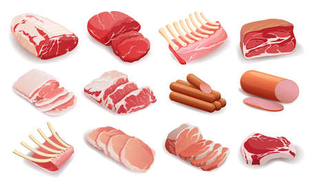Set of meat products in flat style, cooking, delicacies.