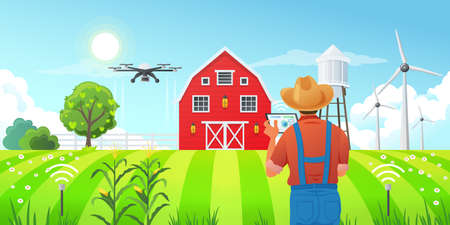 Smart farming - a farmer using a tablet computer to control a drone, monitor and statistics of crop growth in the fields, sensors for measuring soil moisture, wind power station, vector illustration.