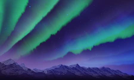 Snow mountains and northern lights landscape with stars, starry sky with polar lights, mountain in fog, vector illustration 矢量图像