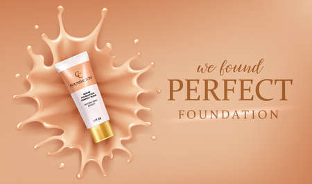 Foundation splash drops, makeup advertising design template for catalog with concealer cream packaging mock up with liquid foundation vector illustration.