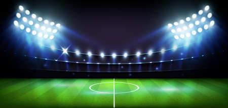 Football Arena stadium at night lights Vector illustration.