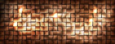 Wide golden metallic cubes background shining and dark, vector illustration. 矢量图像