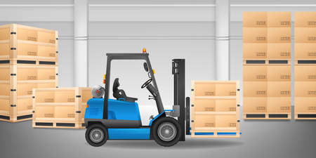 Forklift in warehouse with many boxes on a pallet vector illustration. 矢量图像