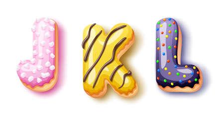Donut icing upper latters - JKL Font of donuts. Bakery sweet alphabet. Donut alphabet latter DEF isolated on white background, vector illustration 矢量图像