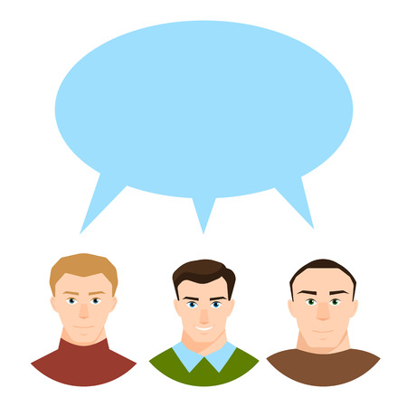 Modern society concept with group of different people in community discussion and speech bubble in flat style isolated on white background.