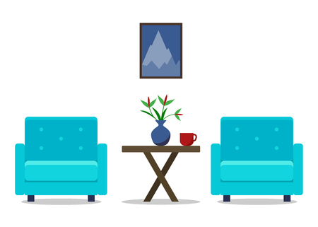 Living room Interior with armchairs. Furniture set. Home design. Modern flat illustration for web site, print, infographic. Stock Photo