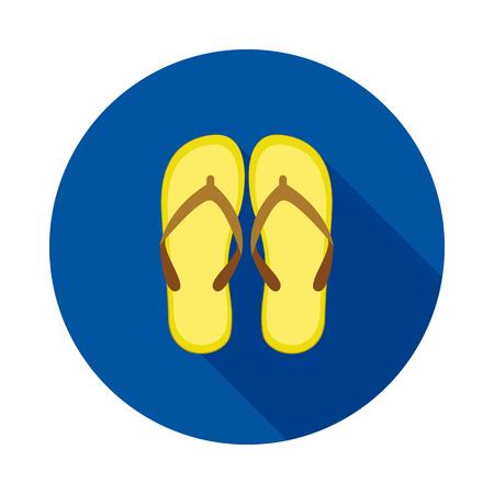 Beach slops icon. Flip flops symbol. Flip-flops icon on circle background. Summer sandals sign. Vector illustration.
