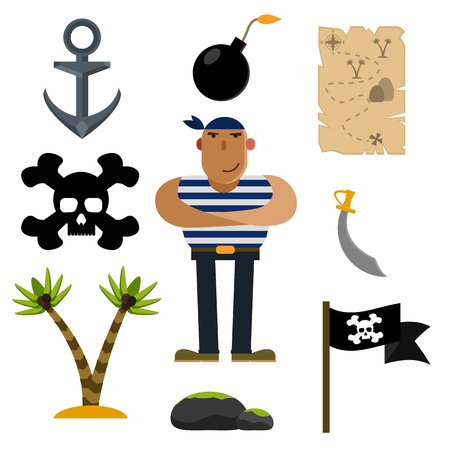 Pirate icons, pirate, vector illustration of icon sets