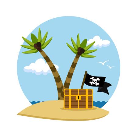 Skarb piratów na tropikalnej plaży z palmami, ilustracji wektorowych