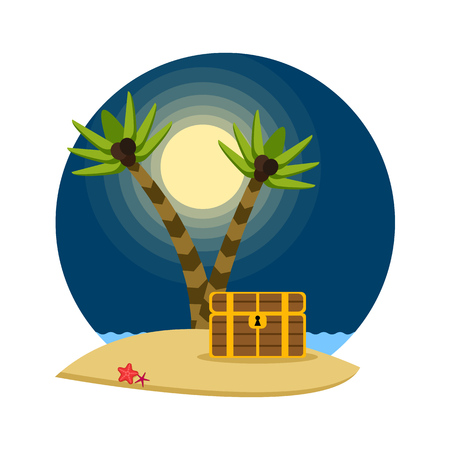 Pirate treasure chest on a tropical beach with palm trees, vector illustration Illustration