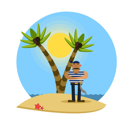 Pirate on a tropical beach with palm trees, vector illustration Illustration