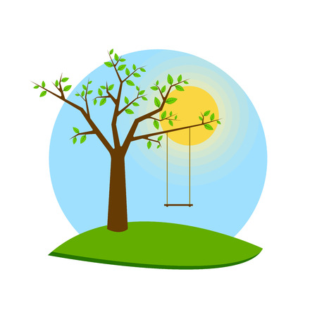 Tree with swing, vector. For web banner postcard Illustration