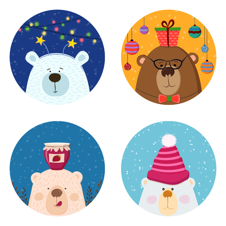 Cute retro hand drawn cards with funny Bear, snow background. For kids menu, winter holidays, birthday, Christmas. Set of animals Illustration