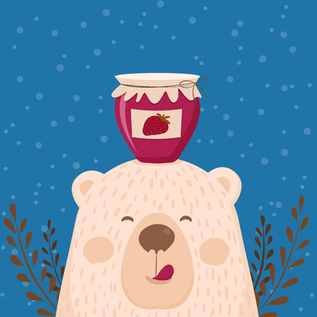 Cute retro hand drawn card as funny Bear with jar jam. For kids menu, winter holidays, birthday, Christmas