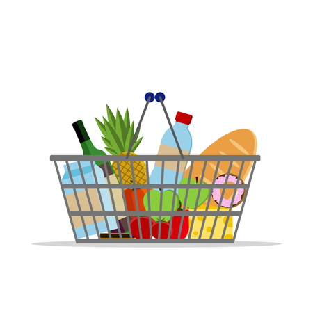 Full basket with different food. Supermarket shopping basket. Flat vector icon. For card, web, icons, shops Ilustracja
