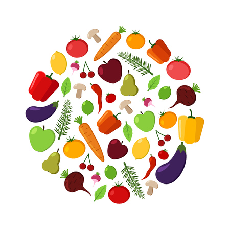 Fruit and vegetable vector circle on a white background. Modern flat illustrations Illustration
