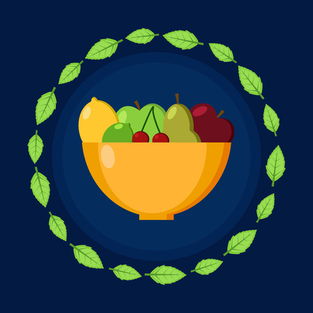 Plate with fruits. Frame of leaves. Flat vector icon. Illustration