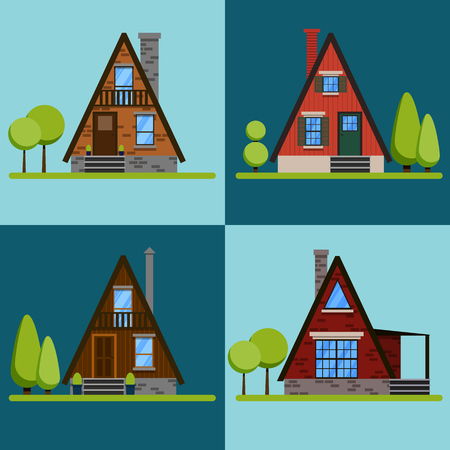 Set of house icons or symbols.Triangular brick and wood houses. Flat design vector illustration