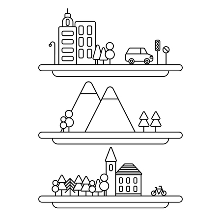 Vector collection of linear illustrations. Vector city illustration in linear style. Vector nature illustration in linear style.