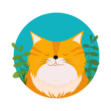 Cute cat. Vector card with hand drawn kitten face with floral wreath. Illustration in flat style