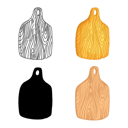 Set of kitchen cutting boards. Hand drawn elements for your design. Vector illustration. Can be used for menu, cafe, restaurant, game, web and print Illustration